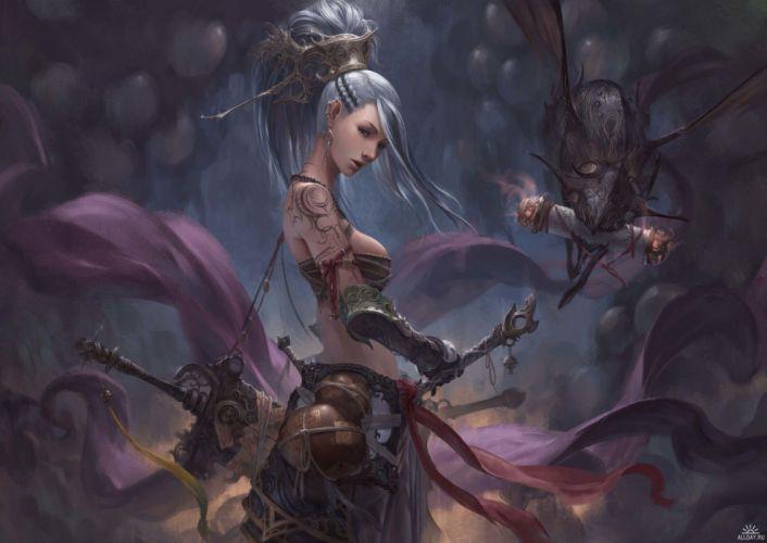 fantasy elf blue hair woman sword wallpaper