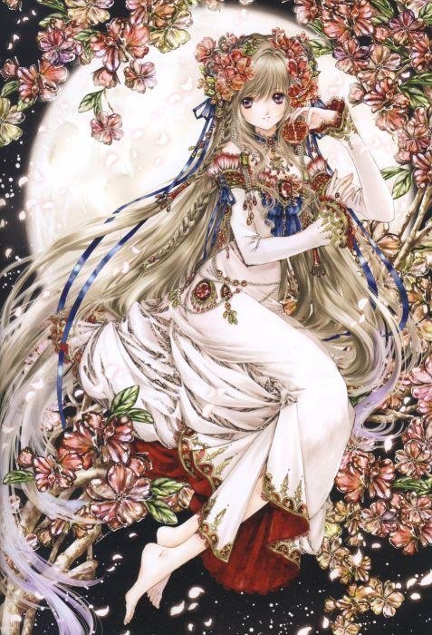 dress flower anime girl wallpaper