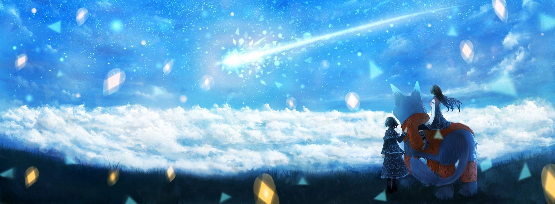 dress landscape sky girl wallpaper