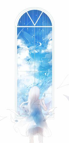 window girl sky anime dress wallpaper