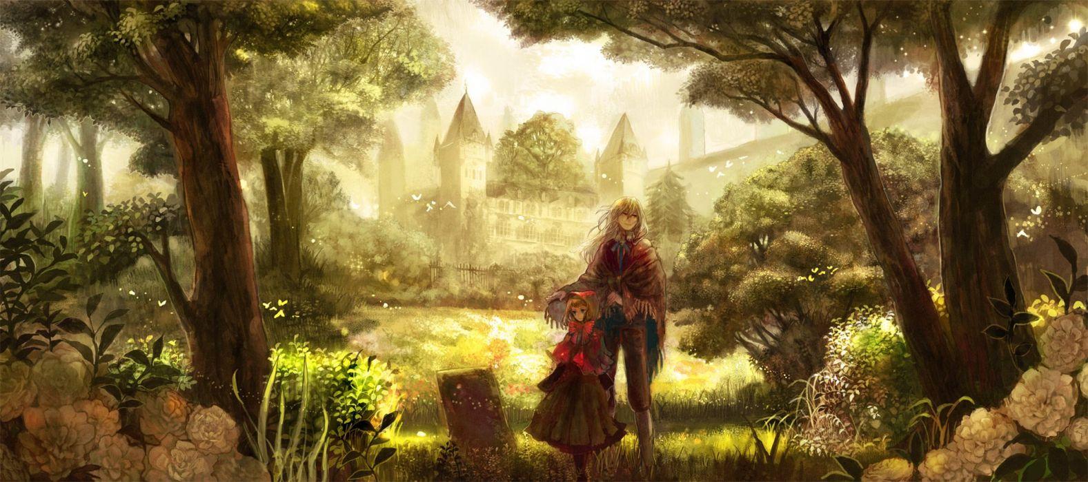 anime fantasy dress landscape wallpaper