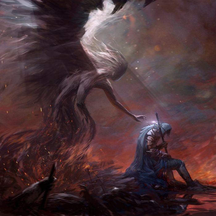 knight fire angel male sword fantasy wallpaper