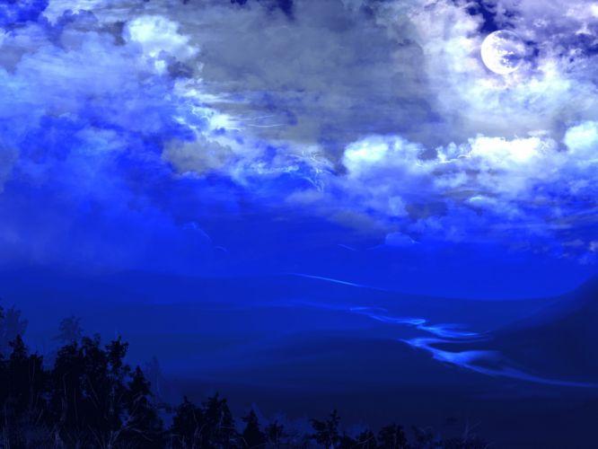 landscape blue sky clouds wallpaper