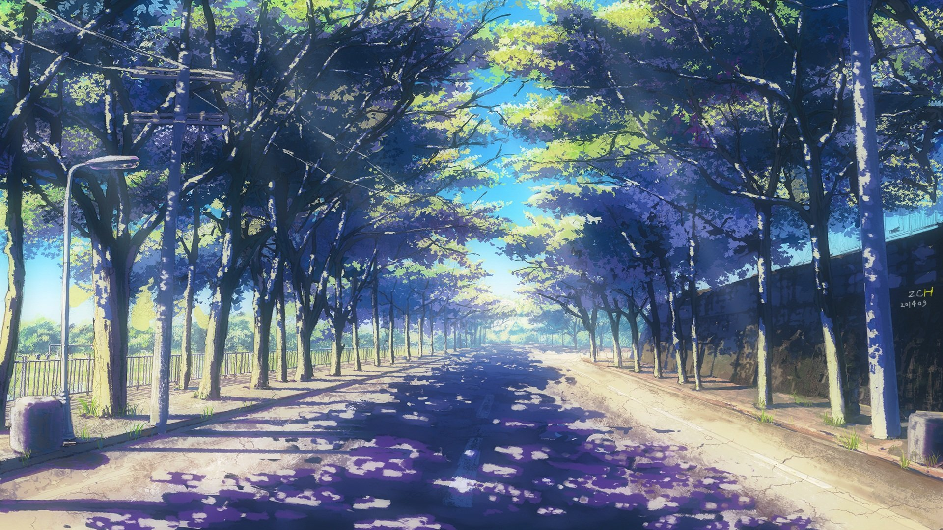 Fondo Animado Campo Parque Full Hd Animate Background: Summer Landscape Anime Wallpaper