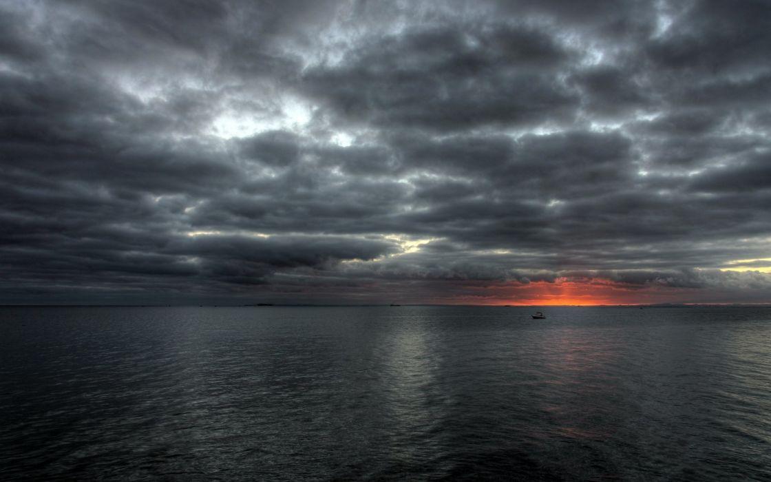 sunset clouds sea nature wallpaper