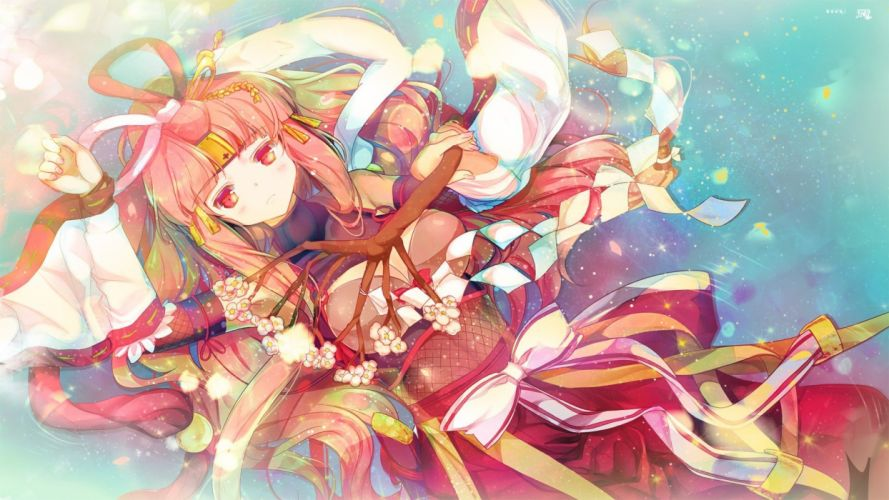 traditional clothing anime girl Puzzle & Dragons wallpaper