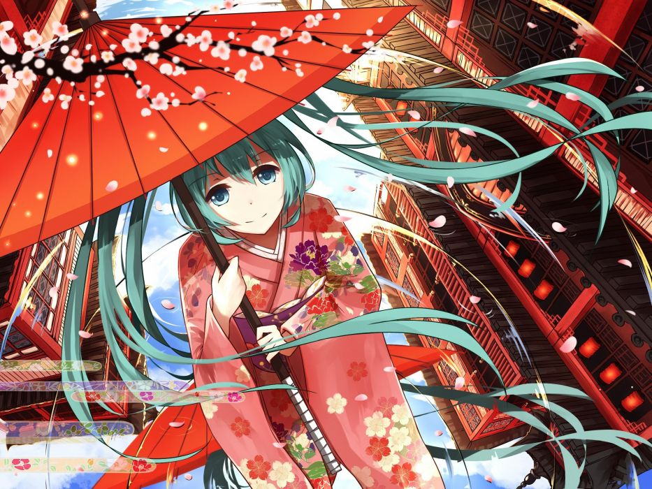 Vocaloid Hatsune Miku umbrella traditional clothing kimono flowers petals anime girls anime cherry blossom wallpaper