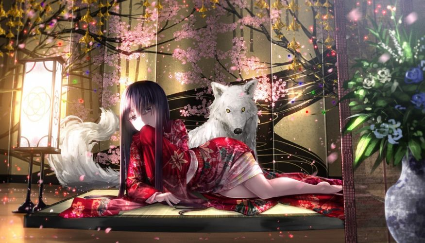 wolf traditional clothing flowers anime girls wallpaper