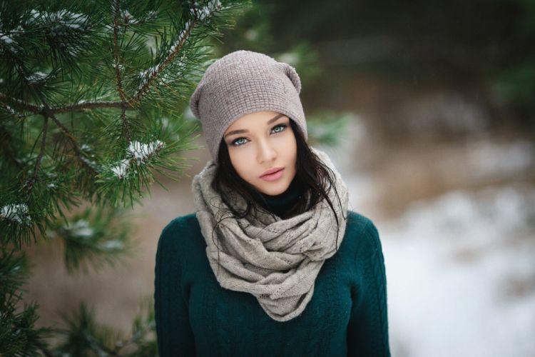 women brunette winter blue eyes hat scarf wallpaper