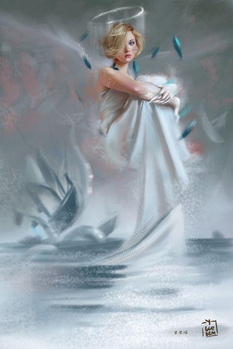 yasar-vurdem fantasy art portraits original beautiful blonde angel wallpaper