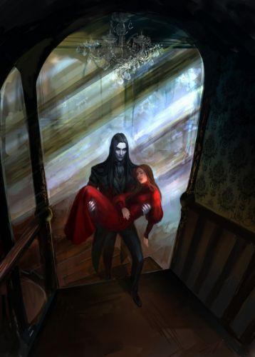 victorian vampire fantasy red dress wallpaper