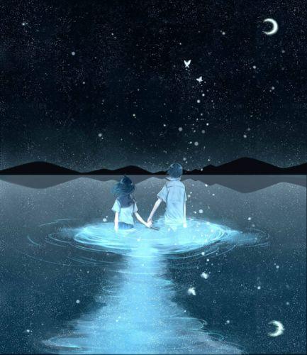 anime lake sky couple stars wallpaper