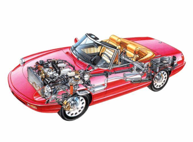 Alfa Romeo Spider cars cutaway 1990 wallpaper