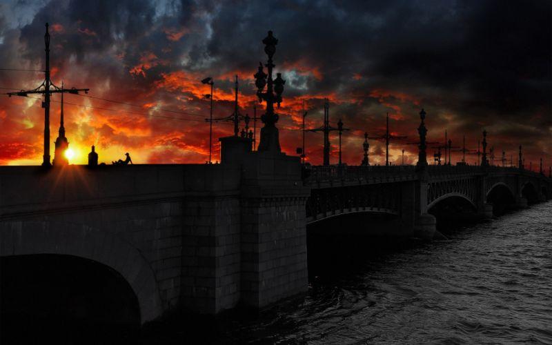 bridge sunset city beauty river wallpaper