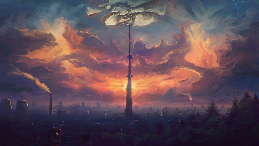 futuristic science fiction tower cityscape clouds city smoke artwork wallpaper