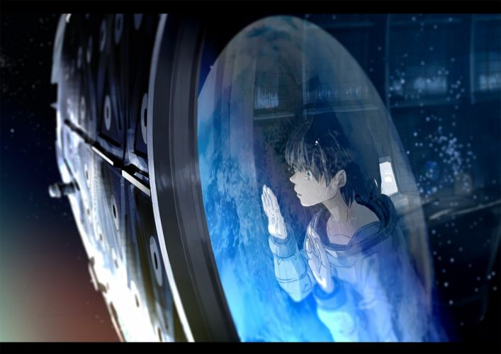 anime landscape green eyes kurono kuro spaces paceship short hair Earth wallpaper