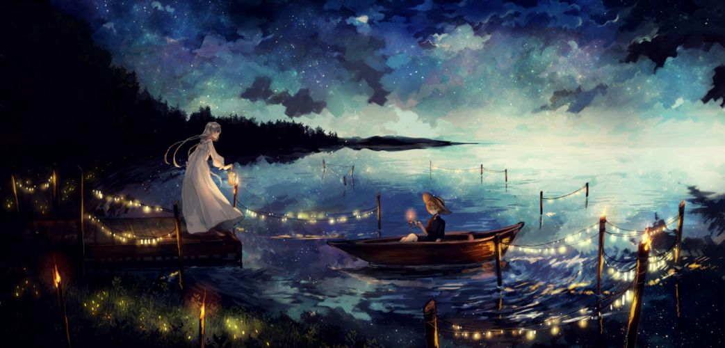 anime girl stars lights candles dress boat wallpaper
