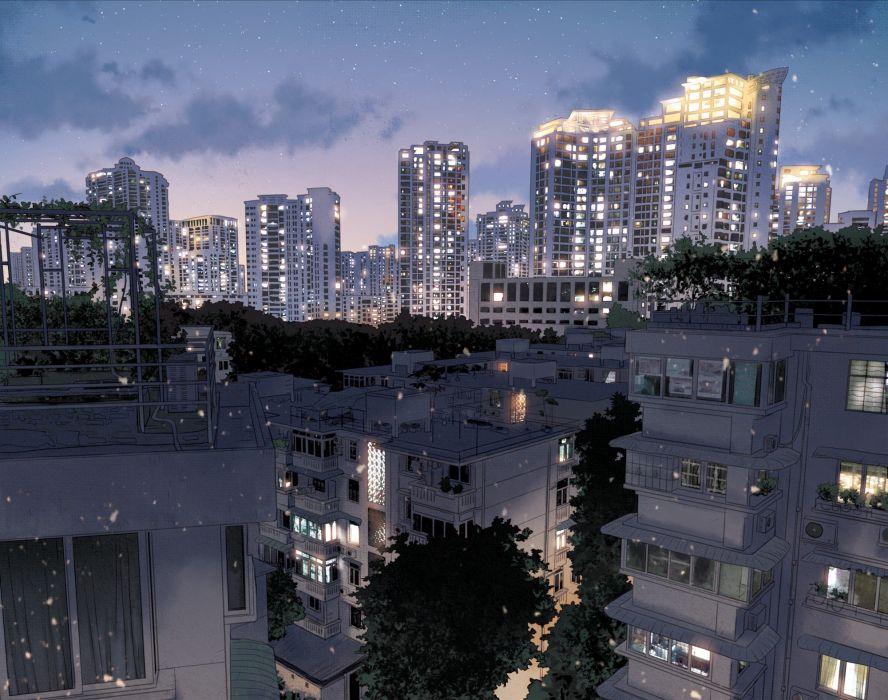 anime city Japan landscape dark night wallpaper
