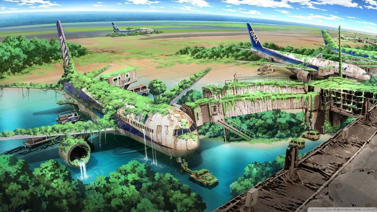 anime landscape sky airplane wallpaper