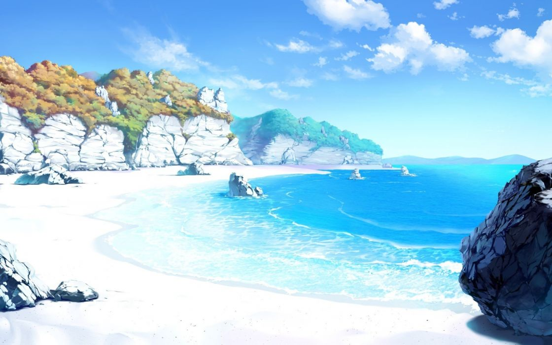 anime drawing landscape sea beach sand sky rock artwork clouds wallpaper