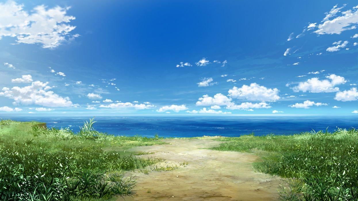 anime sea clouds landscape grass nature sky wallpaper