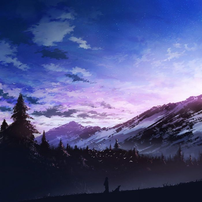 anime nature mountain strees snow clouds sky alone dog Friends sunset wallpaper