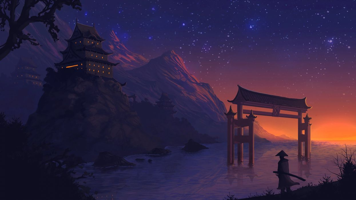 landscape anime digital art fantasy art night stars sunset wallpaper
