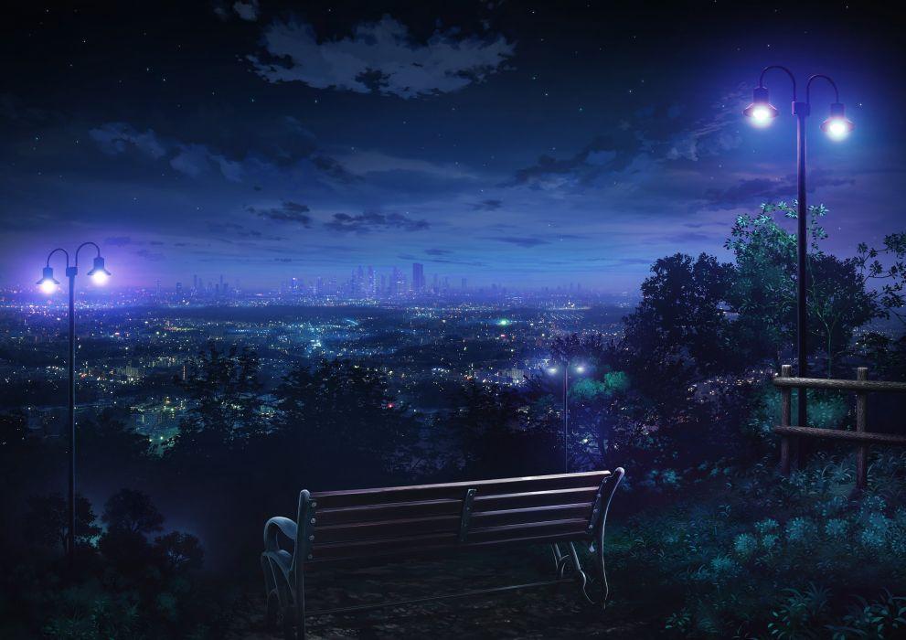 Andscape Anime Bench Cityscape Skyline Night Park Wallpaper