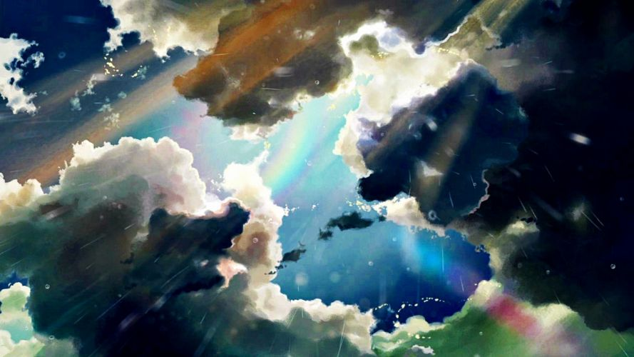 clouds rain anime wallpaper