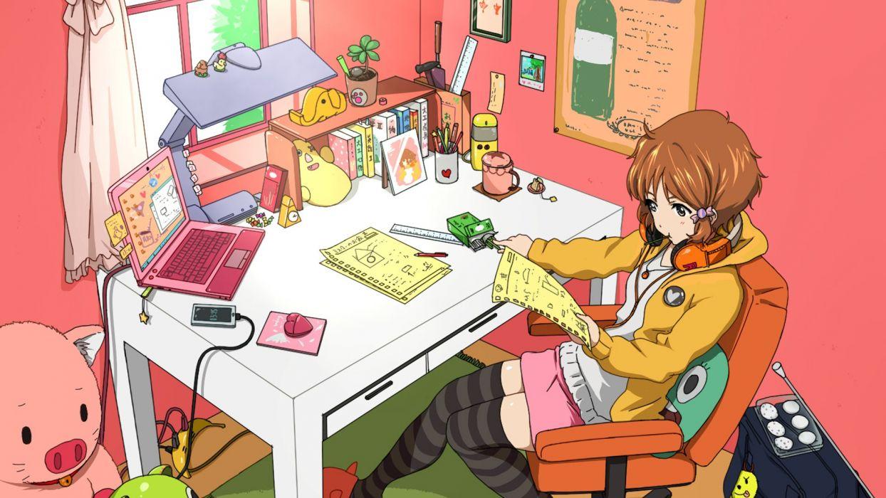 room anime girls Tamako Market Makino Kanna wallpaper