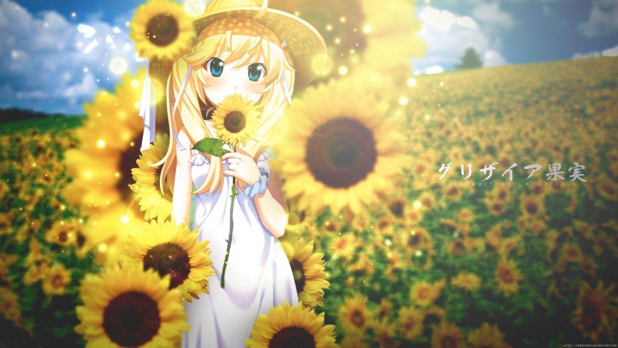 anime girls sunflowers Grisaia no Kajitsu Matsushima Michiru wallpaper