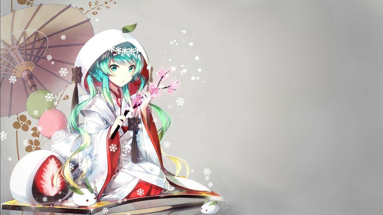 anime girls Hatsune Miku Vocaloid traditional clothing Yuki Miku wallpaper