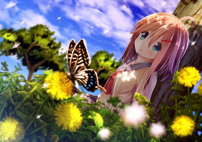 anime girls butterfly flower wallpaper