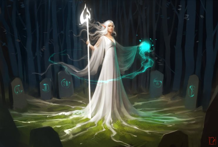 fantasy art elves magic white dress forest wallpaper