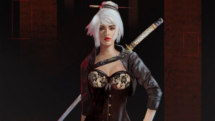 fantasy katana women with swords wallpaper