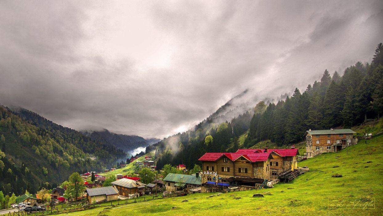 natre mountain houses sky cloud Turkey Rize Ayder Yaylası wallpaper