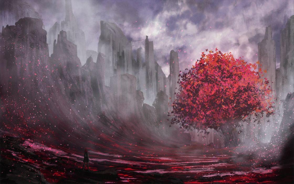 trees red fantasy art landscape wallpaper