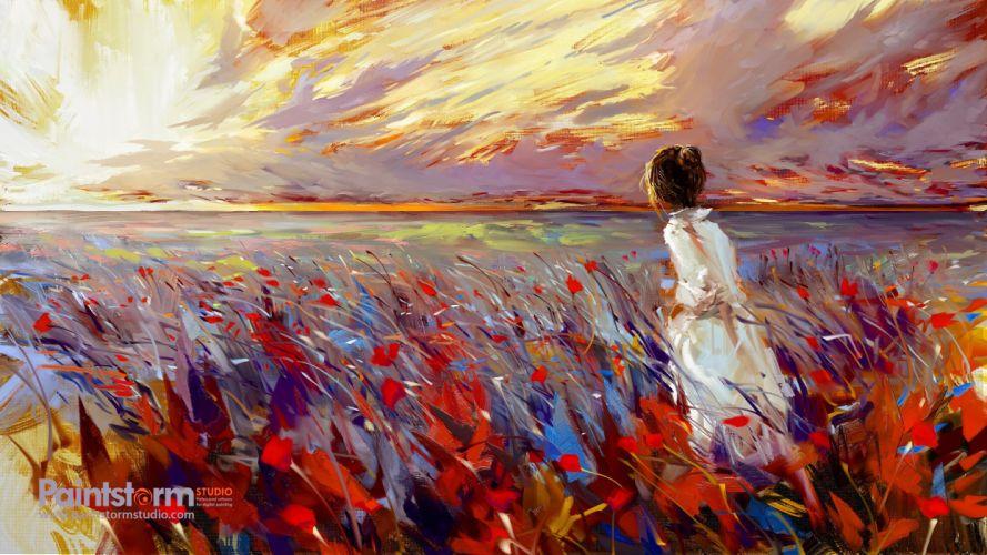 digital art painting field sunset white dress wallpaper