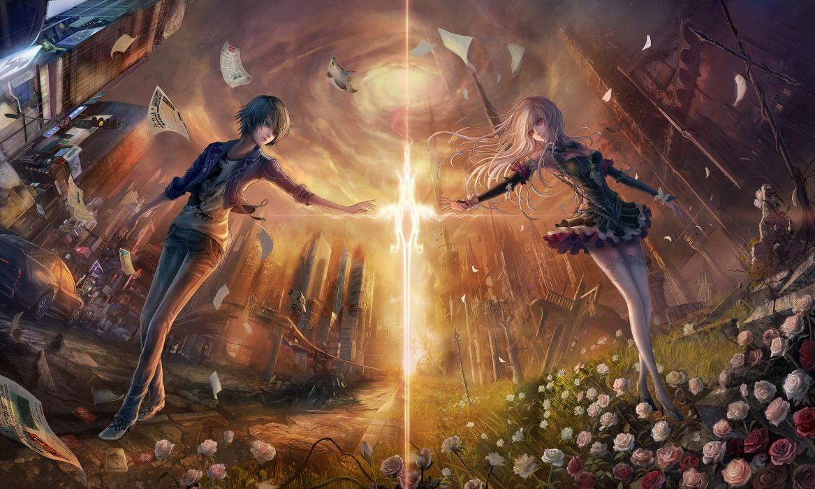 anime girls dress sword weapon original characters wallpaper