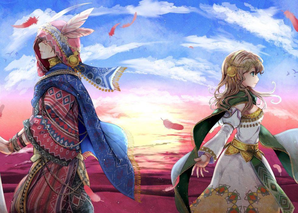 couple sky anime girls anime boys painting original characters wallpaper