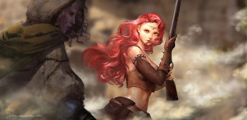 gun original characters redhead wallpaper
