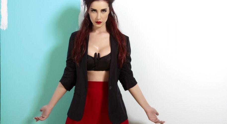 SılaGencoglu women tattoo red red lipstick redhead singer turkish wallpaper