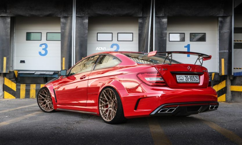 Mercedes Benz C63 AMG Black series adv1 wheels cars red wallpaper