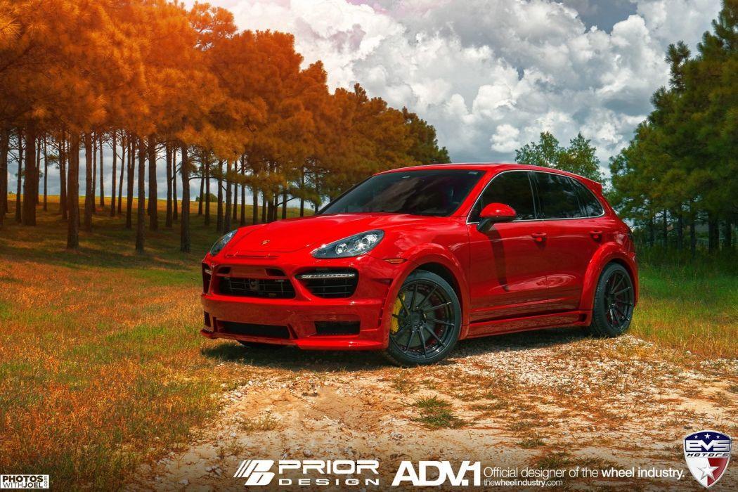 adv1 wheels cars Prior Design Porsche Cayenne red suv wallpaper