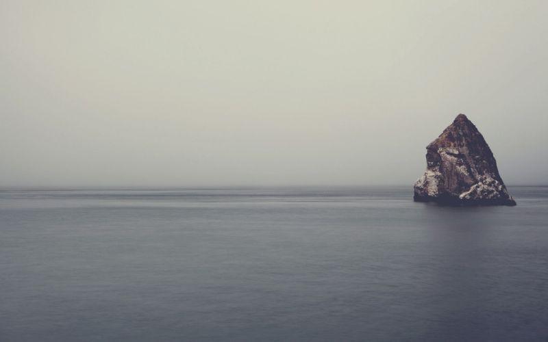 sea rock landscape nature mist wallpaper
