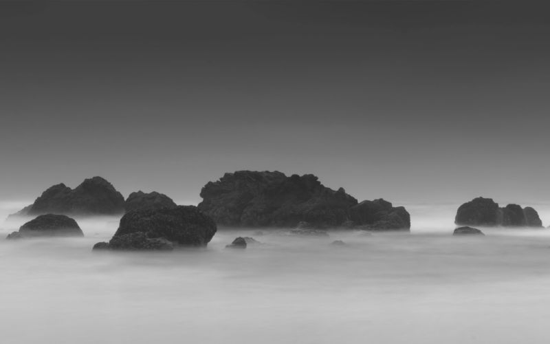 rock mist landscape monochrome nature dark wallpaper