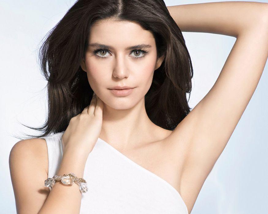 white dress beautiful BerenSaat looking at viewer long hair arms up woman female turkish actress wallpaper