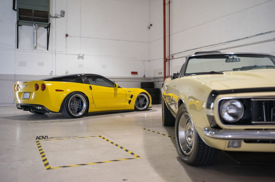 adv1 wheels cars Chevrolet (C6) Corvette ZR1 yellow wallpaper