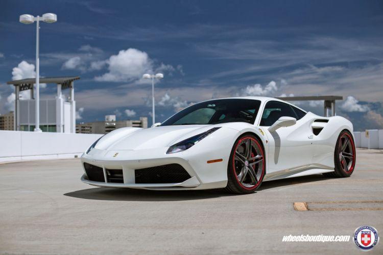 HRE wheels cars Ferrari 488 GTB white wallpaper