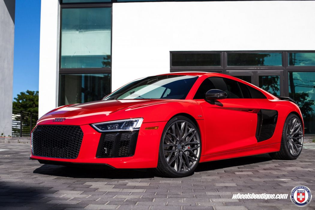 HRE wheels cars Audi-R8 V10 Plus red wallpaper